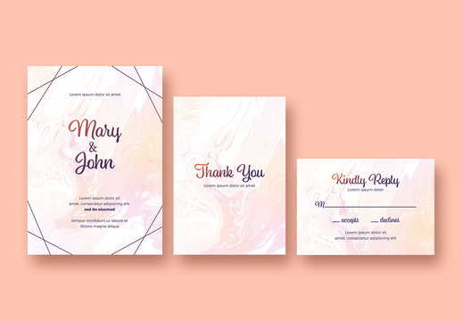 Wedding Stationery Set with a Marble Background