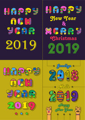Christmas New Year 2019 Set. Vintage artistic font with disco 70s style and bright decor. Cartoon hands. Vector Illustration