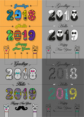 Christmas New Year Set. Goodbye 2018, Hello 2019. Artistic font - retro 70s, tuxedos, shirts, bright flowers. Vector Illustration
