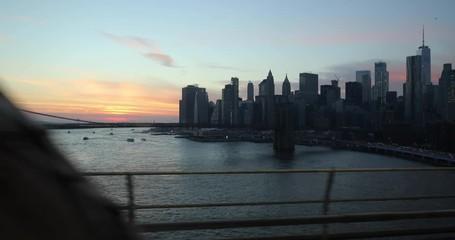 Fototapete - New York City downtown skyline from subway train