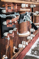 copper parts and elements of electrical transformer starter. electrical transformer station