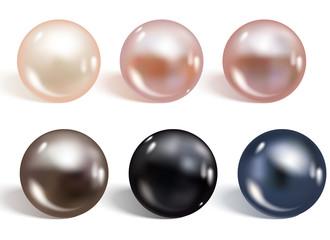 Realistic different colors pearls set. Round colored nacre formed within the shell of a pearl oyster, precious gem. Vector illustration