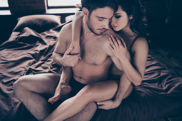 Above high angle view of her she his he two sweet lovely attract