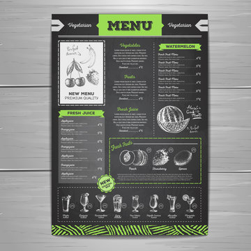 Vintage chalk drawing vegetarian food menu design.  Fresh fruit sketch