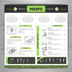 Vintage  vegetarian food menu design.  Fresh fruit sketch