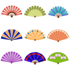 Hand fan icon set. Cartoon set of hand fan icons for web design isolated on white background. Asian hand fan isolated on white background.