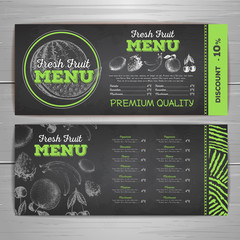 Vintage chalk drawing vegetarian food menu design. Fresh fruit sketch