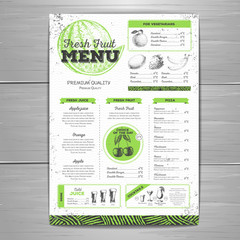 Vintage grunge vegetarian food menu design.  Fresh fruit sketch