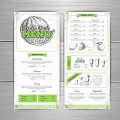 Vintage grunge vegetarian food menu design. Fesh fuit sketch