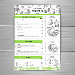 Vintage vegetarian menu design. Fresh fruit sketch