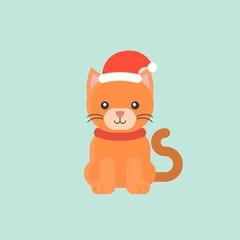 animal wearing santa hat in flat design for christmas theme