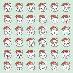 Santa rabbit emotion face in various expession, editable line icon
