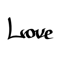 Vector Love handwriting calligraphy. Isolated text illustration element. Black and white engraved ink art.