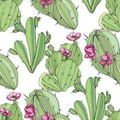 Vector Cacti botanical flower. Green engraved ink art. Seamless background pattern. Fabric wallpaper print texture.