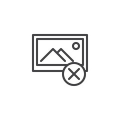 Remove image file outline icon. linear style sign for mobile concept and web design. Delete photo gallery simple line vector icon. Symbol, logo illustration. Pixel perfect vector graphics