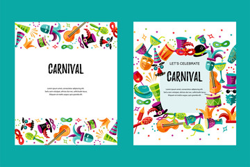 Vector illustration with carnival and celebratory objects. Template for carnival, invitation, poster, flayer, ticket, funfair. Flat style.