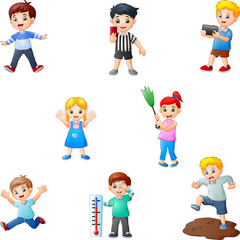 Cartoon kids collection with different activity