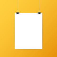 White posters hanging on binder. Grey wall with mock up empty paper blank. Vector illustration.