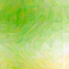 Yellow, green and white Oil Paint with dry brush in square shape background illustration.