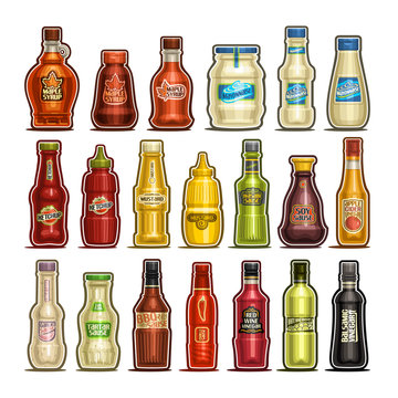 Vector set of isolated Bottles, 20 cut out outline containers with gourmet sauces product, healthy maple syrup, egg mayonnaise, delicious ketchup, dijon mustard, apple cider and white wine vinegar.