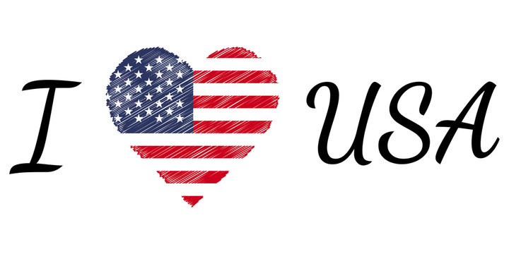 I love country usa america, text heart Doodle, vector calligraphic text, I love usa america flag heart patriot