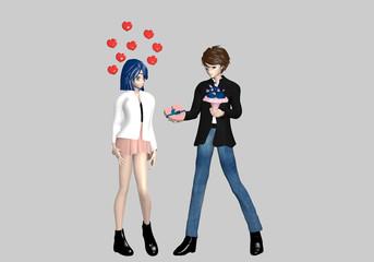 verliebter Mann schenkt einem Mädchen Pralinen und Blumen. Figuren im Manga-Stil. 3d rendering isoliert