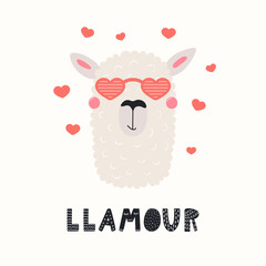 Foto op Plexiglas Illustraties Hand drawn Valentines day card with cute funny llama in heart shaped glasses, text Llamour. Vector illustration. Scandinavian style flat design. Concept for celebration, invite, children print.