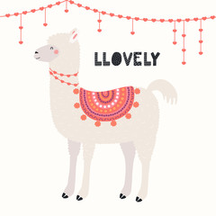 Poster Illustrations Hand drawn Valentines day card with cute funny llama, heart decorations, text Llovely. Vector illustration. Scandinavian style flat design. Concept for celebration, invite, children print.