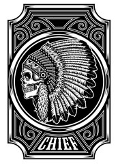Native American Indian Chief Skull in Black and White