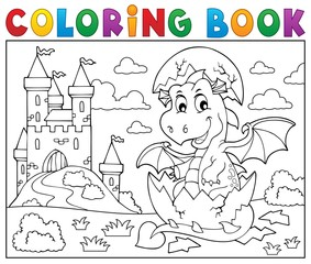 Poster Voor kinderen Coloring book dragon hatching from egg 2