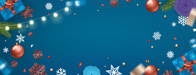 Happy New Year banner. Christmas background. Xmas elements on blue table.