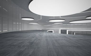 Abstract white and concrete interior multilevel public space with neon lighting. 3D illustration and rendering.