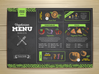 Vintage chalk drawing vegetarian food menu design.