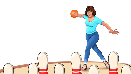 illustration of a woman throwing a bowling ball on the playing field, a girl playing bowling, bowling pins on a white background