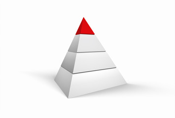 3D Illustration - White pyramide on white background with red top
