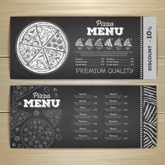 Vintage chalk drawing fast food menu design. Pizza sketch corporate identity