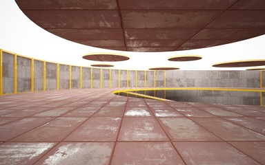 Abstract  concrete and rusty metal interior multilevel public space with window. 3D illustration and rendering.