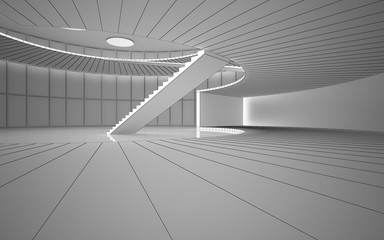 Abstract drawing white interior multilevel public space with window. Polygon black drawing. 3D illustration and rendering.