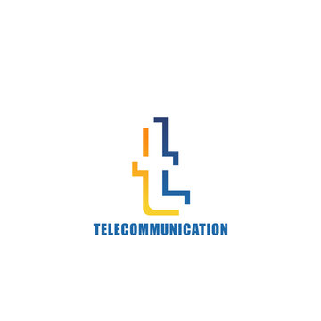 Telecommunication company vector letter T icon