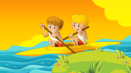 cartoon summer background with kids training in nature illustration for children