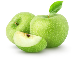 Isolated wet apples. Two green apple fruits with slice isolated on white background with clipping path