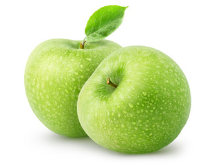 Isolated wet apples. Two whole green apple fruits isolated on white background with clipping path