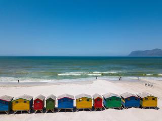 Colourful wooden beach huts at Muizenberg beach