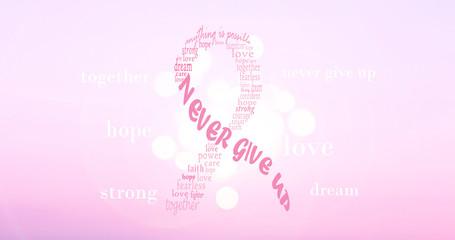 Pink breast cancer ribbon. Motivational background image