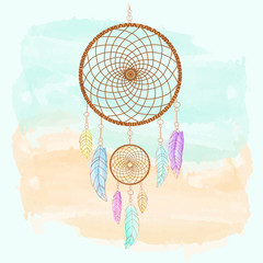 Dreamcatcher, feathers and beads watercolor