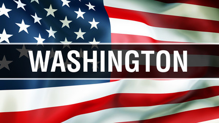 Washington state on a USA flag background, 3D . United States of America flag waving in the wind. Proud American Flag Waving, US Washington state concept. US symbol and American Washington background