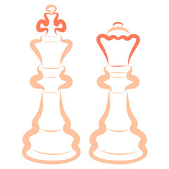 Two light chess pieces, king and queen, color outline