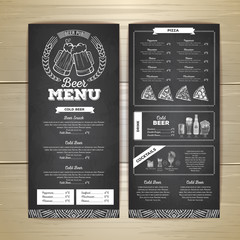 Vintage chalk drawing beer menu design.
