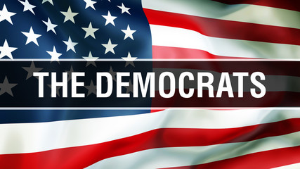 The Democrats election on a USA background, 3D rendering. United States of America flag waving in the wind. Voting, Freedom Democracy, The Democrats concept. US Presidential election banner background