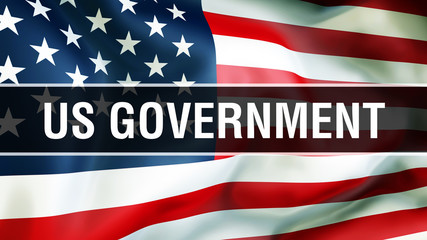 US Government election on a USA background, 3D rendering. United States of America flag waving in the wind. Voting, Freedom Democracy, US Government concept. US Presidential election banner background